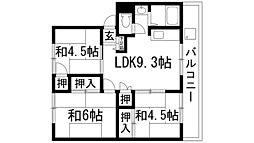 絹延コーポ[4階]の間取り