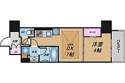 Osaka Metro谷町線 南森町駅 徒歩5分の賃貸マンション 10階1DKの間取り