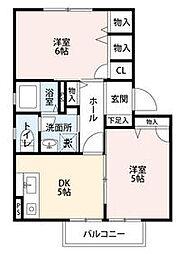 栃木県芳賀郡益子町大字益子の賃貸アパートの間取り
