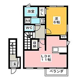 静岡県静岡市駿河区丸子6丁目の賃貸アパートの間取り