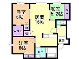 タウンハウス西野参番館 2階3LDKの間取り