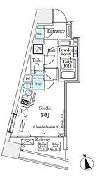 パークナードフィット南青山Vista 10階1Kの間取り