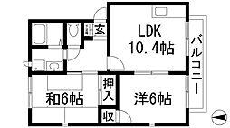 兵庫県宝塚市中筋5丁目の賃貸アパートの間取り