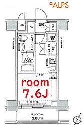 東急東横線 横浜駅 徒歩21分の賃貸マンション 9階ワンルームの間取り