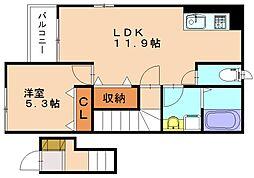 仮称)戸原東新築アパート[2階]の間取り