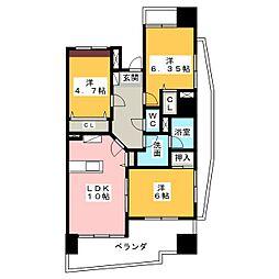 中央ハイツ海老塚[7階]の間取り