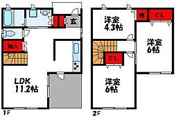 [一戸建] 福岡県古賀市日吉3丁目 の賃貸【/】の間取り