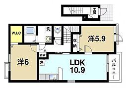JR桜井線 三輪駅 徒歩17分の賃貸アパート 2階2LDKの間取り