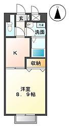 愛知県名古屋市緑区亀が洞1丁目の賃貸アパートの間取り