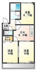 シャトーカサガミ[2階]の間取り