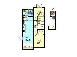 徳島県徳島市国府町和田字竹添の賃貸アパートの間取り