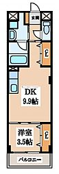 メロディライン 3階1LDKの間取り