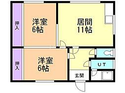 村田コーポ 2階2LDKの間取り