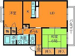 奈良県香芝市旭ケ丘3丁目の賃貸アパートの間取り