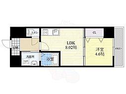 仮称西大寺南マンション 6階1LDKの間取り