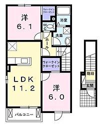 広島県福山市加茂町大字八軒屋の賃貸アパートの間取り