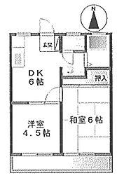 カマダハイツA[2階]の間取り