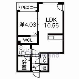 札幌市営東西線 菊水駅 徒歩7分の賃貸マンション 5階1LDKの間取り
