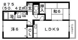 ウィング三宅[D202号室号室]の間取り