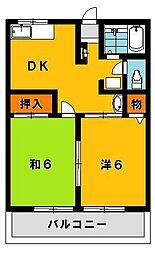 栃木県宇都宮市若松原3の賃貸アパートの間取り