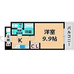 京阪本線 森小路駅 徒歩3分の賃貸マンション 4階1Kの間取り