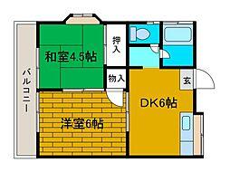 神奈川県相模原市中央区淵野辺本町2丁目の賃貸アパートの間取り
