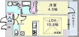 JR東海道・山陽本線 神戸駅 徒歩8分の賃貸マンション 14階1LDKの間取り