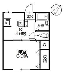 イーストピーク桜が岡[102号室]の間取り