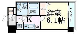 エスリード北大阪レジデンス 9階1Kの間取り