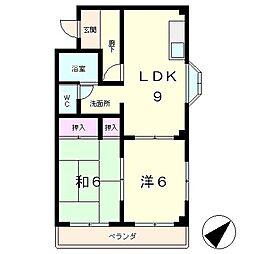 ハイツ平成[3階]の間取り