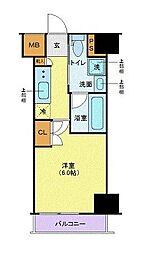東急東横線 武蔵小杉駅 徒歩6分の賃貸マンション 7階1Kの間取り
