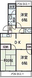 愛知県安城市横山町大山田中の賃貸マンションの間取り