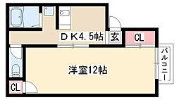 愛知県名古屋市天白区御幸山の賃貸アパートの間取り