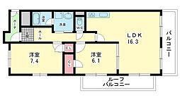 LACASA南桜塚[201号室]の間取り