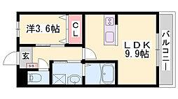 JR東海道・山陽本線 土山駅 バス11分 六甲バター北下車 徒歩3分の賃貸アパート 2階1LDKの間取り