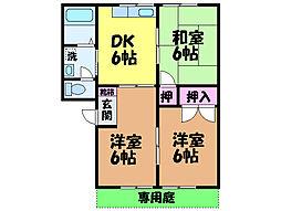 愛媛県松山市久米窪田町の賃貸アパートの間取り