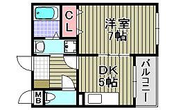 大阪府泉大津市条南町の賃貸アパートの間取り