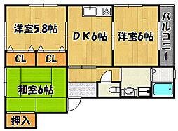 JR山陽本線 西明石駅 バス17分 玉津インター前下車 徒歩10分の賃貸アパート 2階3DKの間取り