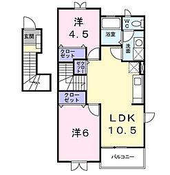 茨城県日立市東金沢町1丁目の賃貸アパートの間取り