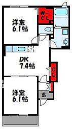 福岡県飯塚市潤野の賃貸アパートの間取り