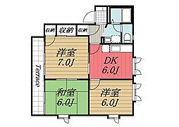 千葉県成田市美郷台2丁目の賃貸アパートの間取り