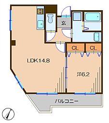 イル クオーレ 2階1LDKの間取り