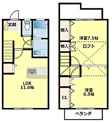 [タウンハウス] 愛知県豊田市田中町5丁目 の賃貸【/】の間取り
