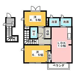 静岡県焼津市惣右衛門の賃貸アパートの間取り