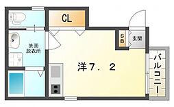 アクロス守口駅前アパートメント 2階ワンルームの間取り