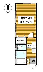 神奈川県横浜市保土ケ谷区釜台町の賃貸アパートの間取り