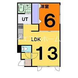 ガーデンハウスA 1階1LDKの間取り