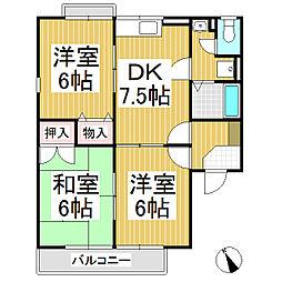 ロイヤルパーク篠ノ井 B棟[1階]の間取り