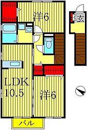 ベルウィルB[2階]の間取り