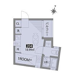 小田急小田原線 豪徳寺駅 徒歩6分の賃貸テラスハウス 2階1SKの間取り